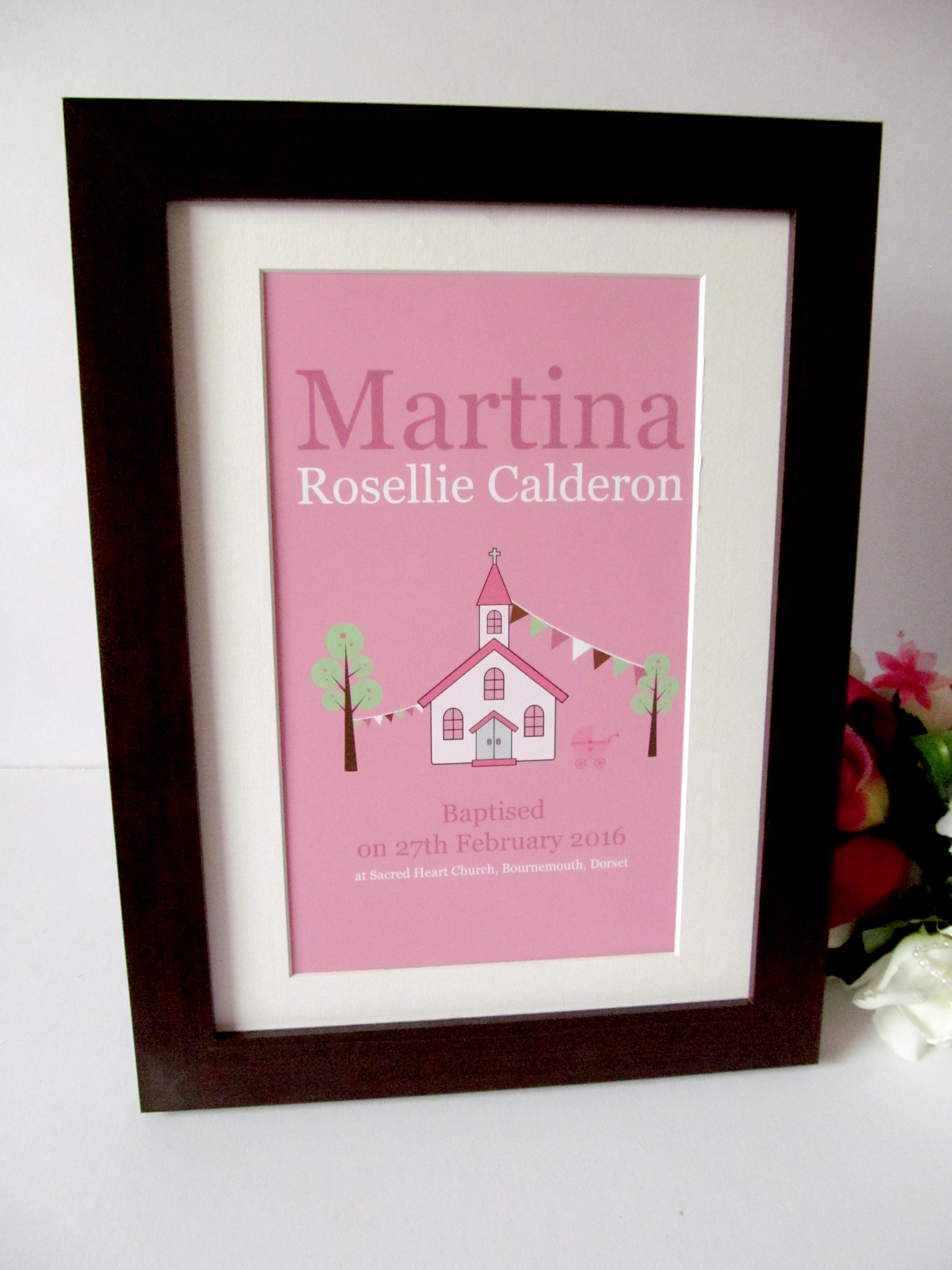 Framed Print Christening Naming Day Black Frame Mounted Print Personalised Church Pink Blue Multi Coloured